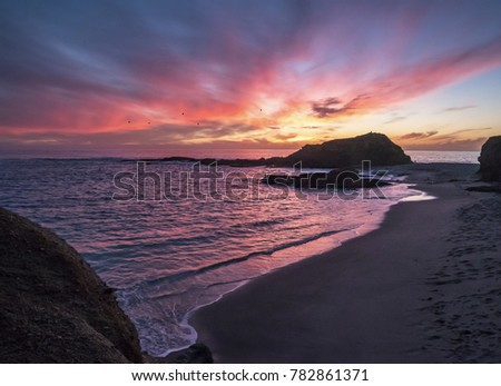 4K Pretty Exotic Beach Sunset with Purple and Pink Skies on the Calm Shore with Waves and Rocks