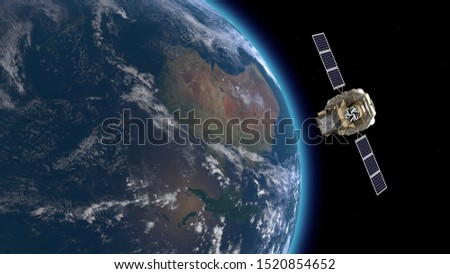 8k realistic INTEGRAL satellite and earth rotating in the space. 3D modeling of satellite and earth. 3D illustration