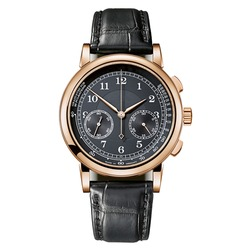 18K Rose Gold Chronograph Luxury Watch Isolated. Front View Classic Golden 39.5mm Mechanical Manual Winding Movement Wristwatch with Black Crocodile Leather Strap and Dial Seconds Subdial