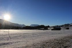 Kössen in the Kaiser Mountains in winter