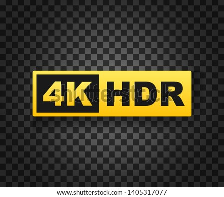 4K Ultra HD symbol, High definition 4K resolution mark, HDR. stock illustration.