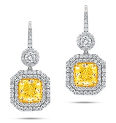 18k White Gold Earrings with Main Fancy Yellow Diamonds surrounded by White Diamonds