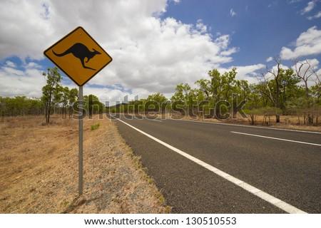 Kangaroo road sign in australian outback