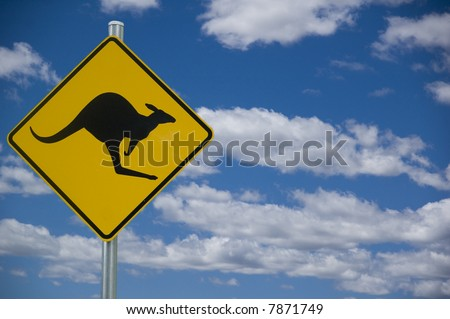 """""""Kangaroo"""" road warning sign against a blue sky background with copyspace to the right"""