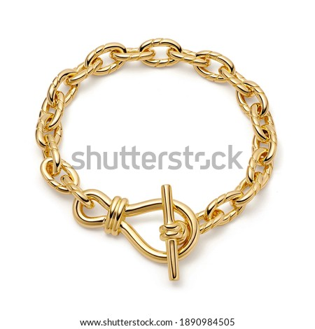 18 Karat Rose Gold Twisted Link T-Bar Chain Bracelet Isolated on White. Linked-Chain Design Golden Jewellery. Wristband Accessories. Precious Metal Jewelry. Women's and Men's Link Bracelet