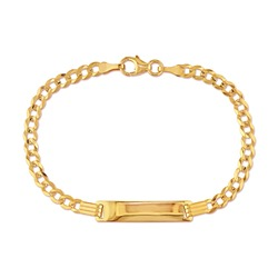18 Karat Yellow Gold Chain Curb Link ID Bracelet with Lobster Claw Clasp Isolated on White. Linked-Chain Design Golden Jewellery. Wristband Accessories. Women's & Men's Precious Metal Jewelry
