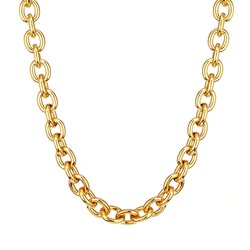 18 Karat Yellow Solid Gold Oval Anchor Link Chain Necklace with Lobster Claw Clasp Isolated on White. Linked-Chain Design Golden Jewellery. Luxury Neck Accessories. Precious Metal Jewelry