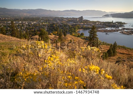 Kelowna British Columbia High Angle View. The high angle view of Kelowna and Okanagan Lake from Knox Mountain.