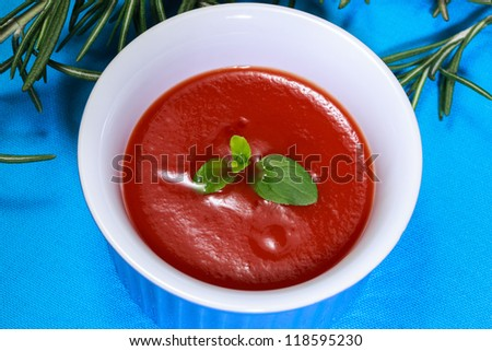 Ketchup, tomato sauce and rosemary