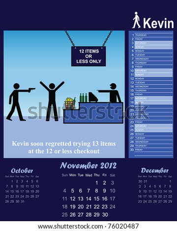2012 Kevin series calendar for the month of November