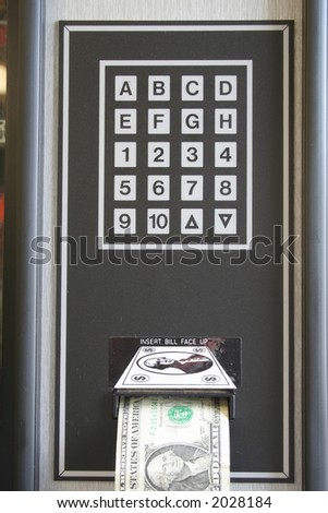 """Keypad"" Vending machine with dollar rejection, keypad, shown."