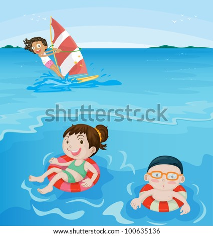 3 kids having fun at beach