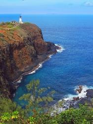 kilauea lighthouse   on the north shore of kauai, hawaii
