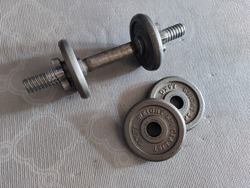 1.5 kilograms of two metal weight plates with an adjustable dumbbell lays on a gray yoga mat