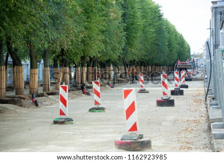 1,6 kilometers of length the pedestrian street Laisves Aleja (Alley of Freedom) is under reconstruction in Kaunas city (Lithuania). #1162923985