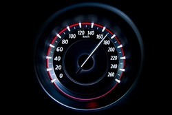 170 Kilometers per hour,light with car mileage with black background,number of speed,Odometer of car.