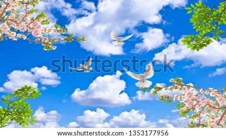 kiraz çiçeği, yeşil yapraklar, badem çiçeği gökyüzü güvercinler stretch ceilings Stok fotoğraf ©
