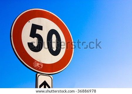 50 km/h limit signal