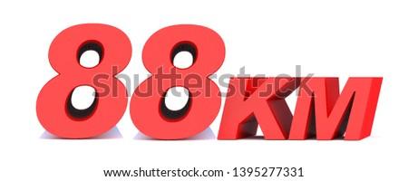 88 km. 88 kilometer word on white background. 3d illustration