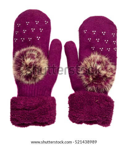 Knitted mittens.  #521438989