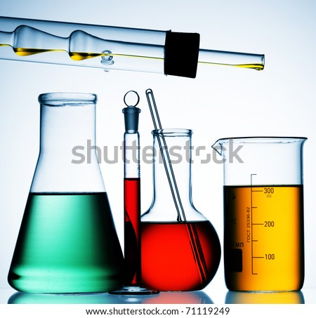 laboratory glassware equipment ready for an experiment in a science research lab