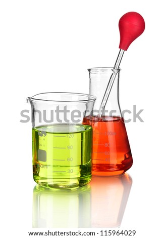 laboratory glassware with color liquid and with reflection isolated on white