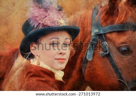 Lady in riding habbit XIX Century at horse hunting.  Imitation of old oil painting