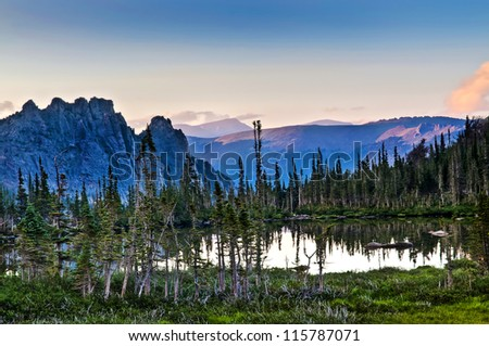 Lake Helene at sunset Rocky Mountains Colorado