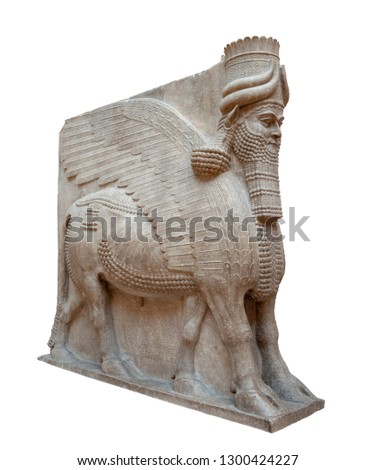 Lamassu. From Khorsabad, Iraq. Gypseous alabaster. Isolated with clipping path.