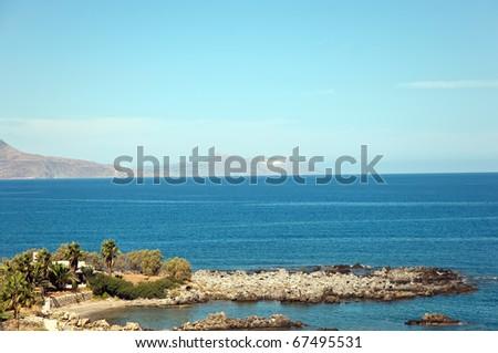 Landscape Greek island of Crete (Northern Crete). Aegean Sea.