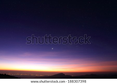 Landscape of sunrise in the morning with star in the sky #188307398