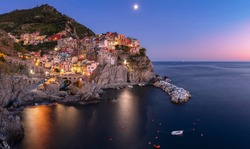 landscape of the Small village of Manarola at sunset, Italy