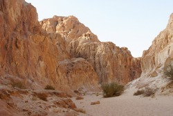 Landscape with a stone canyon among the rocks in the desert