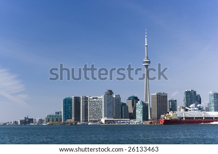 landscape with toronto skyline / cn tower / harbourfront - stock photo