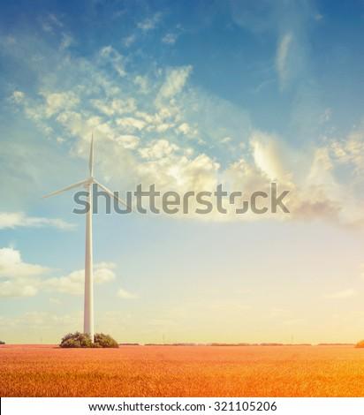 landscape  with wind Generators, ecology concept