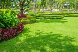 Landscaped Formal,front yard with garden design with tree shade  .