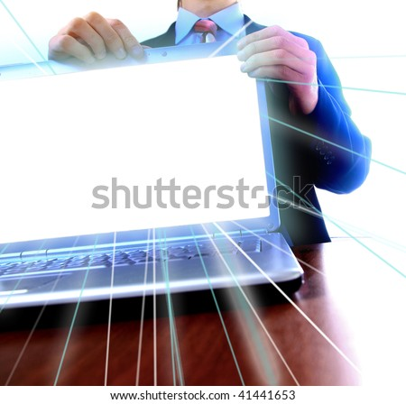 laptop with a blank screen useful for composition