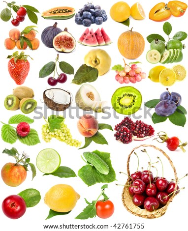 large collection set of ripe fruit, berries vegetables , isolated on a white background - stock photo
