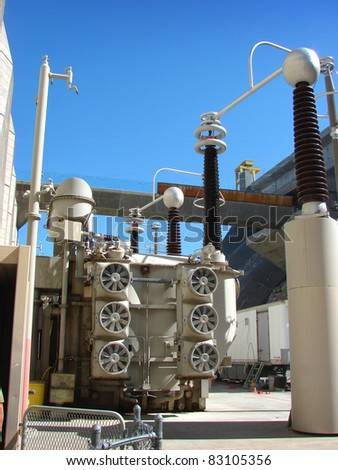 Large electrical transformers at grand coulee dam - stock photo