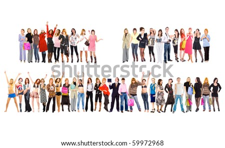 3 large groups. Groups of business youth series - stock photo