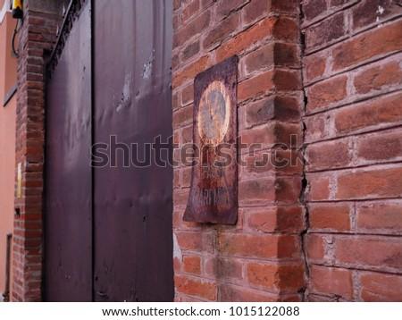 large metal door in italy  on...