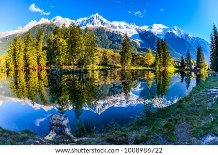 Large stump on the shore of the lake. Snowy Alps are reflected in the lake. Magically beautiful park in the mountain resort of Chamonix. Concept of active and ecotourism #1008986722