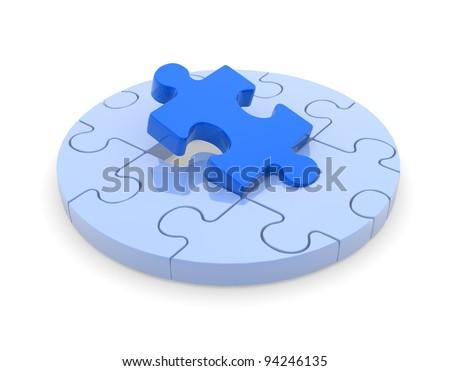 Last piece of puzzle( jigsaw). 3d render