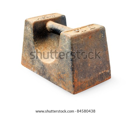 7lb cast iron rusty weight isolated on a white background