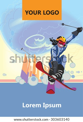 . Leaflet about skiing. Cover winter sport