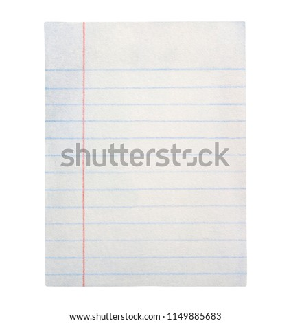 Сlean wide blue lined sheet of paper. Cute pattern for school message, doodle, document, to do list, journal, announce. Hand drawn watercolour graphic painting on white, isolated element for design.