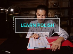 LEARN POLISH text in block of quotes. Modern Banker doing paperwork