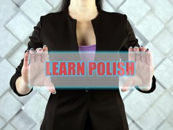 LEARN POLISH text in futuristic screen.
