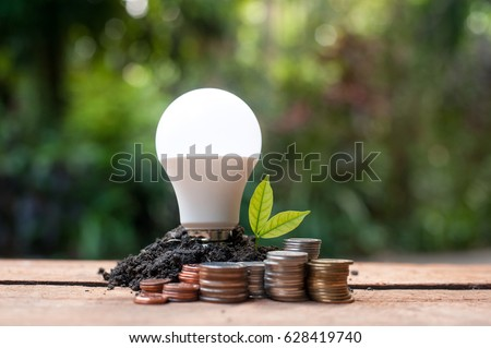 LED bulb with growing plant - Concept of saving energy