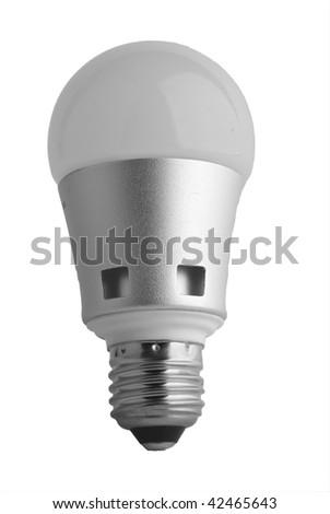 LED light bulb on white surface - stock photo